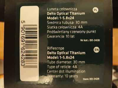 Delta optical titanium 1 5 8x24 mit 4a absehen zielfernrohre